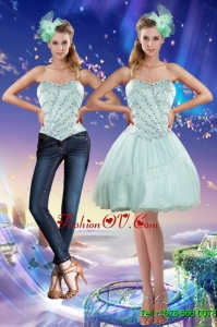 Detachable Sweetheart Beading 2015 Prom Skirts in Apple Green