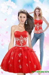 Detachable 2015 Sweetheart Appliques Prom Skirts in Red