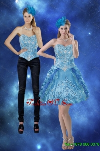 Detachable 2015 Sweetheart Prom Skirts with Embroidery and Pick Ups