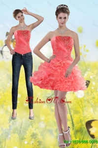 Detachable 2015 Watermelon Red Strapless Prom Skirts with Beading and Ruffles