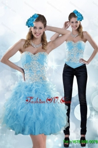 Detachable Appliques and Ruffles Sweetheart Aqua Blue Prom Skirts for 2015