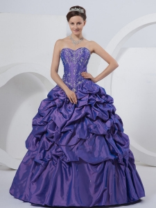 Medium Slate Blue Quinceanera Gowns Sweetheart Pick-ups