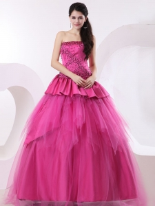 A-line Hot Pink Quinceanera Dress With Beading and Peplums