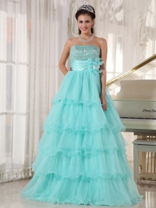 Custom Size Beading Tiered Apple Green Quinceanera Dress