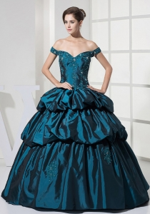 Off Shoulder Dark Teal Taffeta Gown for Quince Taffeta Layered