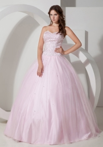 Baby Pink Ball Gown Sweetheart Quinceanera Dress with Beads