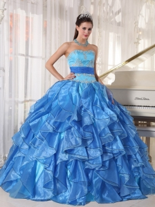 Cascading Ruffles Two-toned Blue Quinceanera Gown Sash