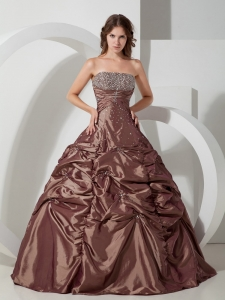 Classic Brown Ball Gown Quinceanera Dress Taffeta Beading