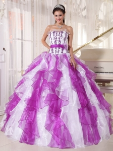 Ruffled White and Purple Quinceanera Dress Sash Flowers