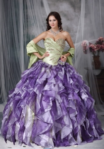 Colorful Sweetheart Beading Quinceanea Dress Cascading Ruffles