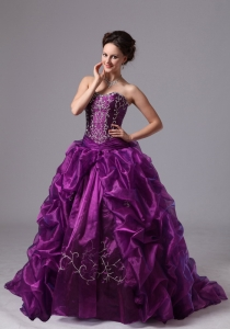 Eggplant Purple Quinceanera Dress Embroidery Sweep Train
