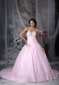 Sweetheart Chapel Train Baby Pink Quinceaneras Dress