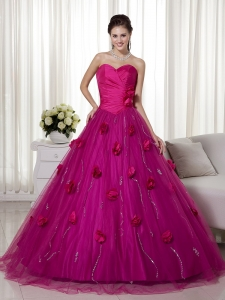 Fuchsia Sweetheart Dress for Duinceaneras Sequins Flowers