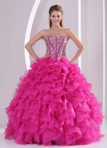 Sweetheart Crystal Hot Pink Quinceanera Gowns Ruffled