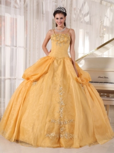 Simple Gold Sweet Sixteen Dresses Spaghetti Straps Appliques