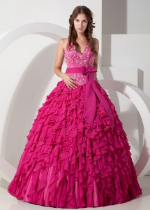Halter Quinceanera Dress Hot Pink with Ruffles and Sash Bowknot