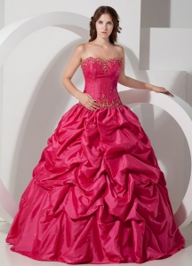 Strapless Hot Pink Quinceanera Dress Taffeta Pick-ups Beading