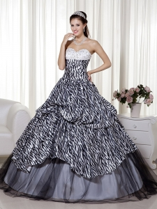 Luxurious Zebra Print Quinceanera Dress Sweetheart Beading