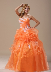 Fashion Color A Line Applique Flower Coral Quinceanera Dress