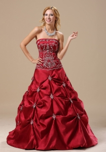 Embroidery Bodice Pick-ups Wine Red Quinceanera Dress
