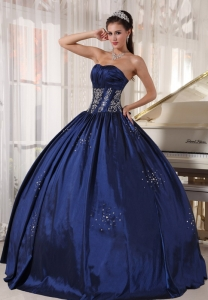 Puffy Navy Ball Gown Dress for Quinceanera Beads Embroidery