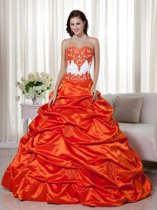 Orange and White Sweetheart Quinceanera Dress Appliques