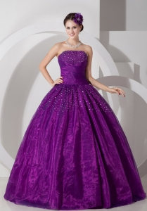 Fast Delivery Purple Quinceanera Ball Gown with Beads 2013