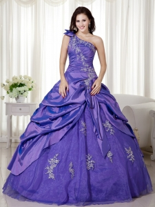 Purple Bowknot One Shoulder Applique Quinceanera Gowns