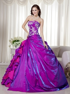 Sparkling Purple Quinceanera Dress Appliques Ruffles Taffeta