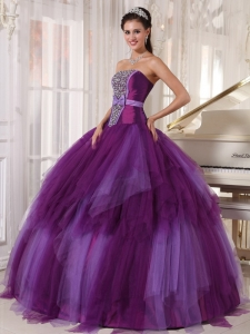 Two-toned Purple Tulle Beaded Quinceanera Dress Bowknot Sash