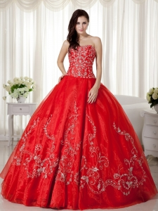 Red Ball Gown Organza Floral Embroidery Quinceanera Dress