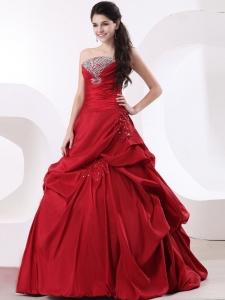 Strapless A-line Beading Custom Made Red Quinceanera Dress