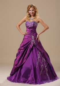 Discount Sweetheart Embroidery Purple Quinceanera Dress