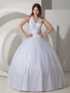 Tailor Made Halter Beading Puffy White Dresses for Quinceanera