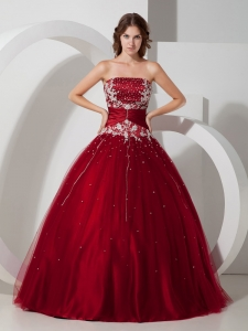 Satin and Tulle Wine Red Quinceanera Dress Appliques Beading