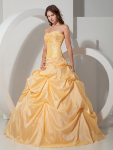 Yellow Taffeta Beading Quinceanera Dress Plus Size Dropped