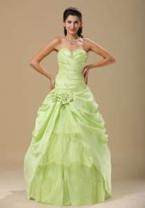 Discount Yellow Green Ruched Quinceanera Dress with Flowers