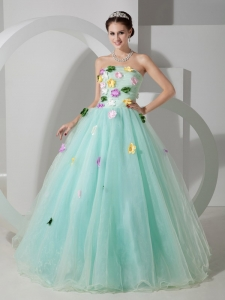 Apple Green Quinceanera Dress A-line Strapless Organza Floral
