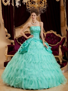 Apple Green Quinceanera Dress Ruffles Taffeta Strapless Organza