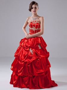 Appliques Red A-Line Quinceanera Dress Taffeta Strapless