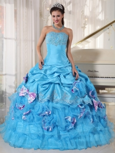 Hand Made Flowers Strapless Beaded Sweet 16 Dress