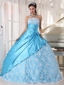 Aqua Blue Ball Gown Strapless Floor-length Taffeta Lace
