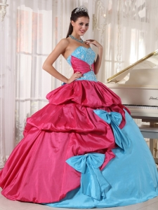 Aqua Blue Pink Sweetheart Taffeta Appliques Quinceanera Dress