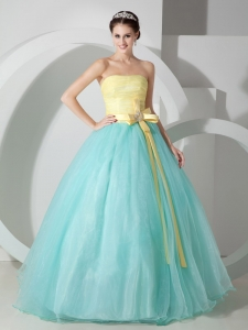 Aqua Blue Yellow Strapless Organza Sash Quinceanera Dress