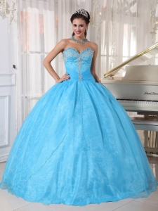Baby Blue Ball Gown Sweetheart Appliques Sweet 16 Dresses
