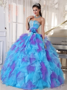 Baby Blue and Purple Ball Gown Strapless Organza Appliques