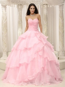 Quinceanera Dress Sweetheart Layered Ball Gown Baby Pink