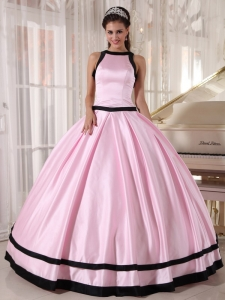 Baby Pink and Black Ball Gown Bateau Floor-length Satin