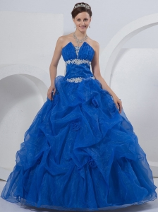 Strapless Floor-length Quinceanera Dress Blue Organza Beading