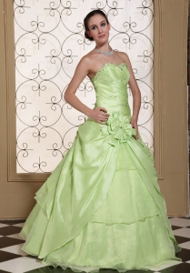 Beaded Bust Sweet 15 Dress Yellow Green Organza